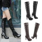 Chic Women's Riding Knee High Boots Stilettos High Heel Pull On Roman Shoes Size