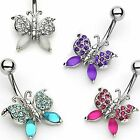 Surgical Stainless Steel Frosted Gem Butterfly Belly Navel Ring Body Jewelry