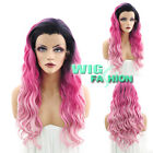 """24"""" Heat Resistant Curly Wavy Two Tone Pink With Dark Roots Lace Front Wig"""