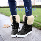 Womens Winter Lace up high top Ankle Boots hidden Heels shoes Furry trim Casual