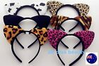 Women Lady Kid Fluffy Cat Kitty tiger cow Costume Ear Party Hair head band Prop
