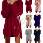 Womens Long Sleeve Pullover Sweater Loose Knitted Side Zip Jumper Dress
