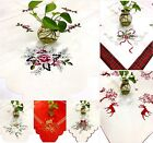 Xmas Festive Table Runners & Topper Christmas Cream Red Bells Candles Decoration