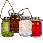 5 LED LIGHT LANTERN MASON JAR NIGHT COLOURED HANGING HOME DECO ROPE 21CM INDOOR