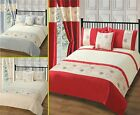 Luxury Duvet Cover Bedding Set Single Double King Cream Red Silver Embellished