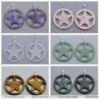 Lady Fashion Sculpture Flat Gemstone Hollow Pentagram Pendant Necklace Jewelry
