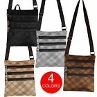 Mens Small Check Pattern Organiser Shoulder Bag Adjustable Strap Zip Up Pockets