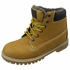 Boys Honey Tan  Warm Fur Lined Lace Up Work boot Kids Combat Boots Sizes 8 - 2