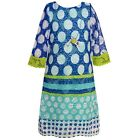 Rare Editions Little Girls Royal Blue Aqua Dotted Cut-Out Detail Dress 4-6X