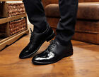 New Mens Faux Leather Casual Lace Up Dress Formal Loafers Shoes US6--10.5