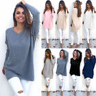 Women V Neck Long Sleeve Casual Pullover Sweater Shirt Loose Blouse Jumpers Tops