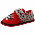 Disney Girls Kids Minnie Mouse Velcro Slippers Shoes Red/Grey