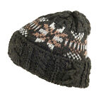 Highland 2000 English Wool Fair Isle Cable Beanie Hat - Loden