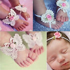 3Pcs/Set Newborn Baby Girls Butterfly Headband Headdress Foot Flower Photo Prop
