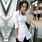 New Women's Long Sleeve Solid Button Down Slim Fit Casual Tops Shirt Blouse N4U8