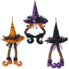 "23"" Hanging Witch Hat with Legs Halloween Decoration Raz Imports Orange Purple"