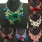 CHOKER COLLAR CRYSTAL PENDANT JEWELRY STATEMENT CHUNKY FLOWER NECKLACE UNIQUE