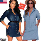 Fashion Womens Mini Denim Shirt Dress Ladies Jeans Button Pocket Blouse Tops