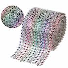 Rainbow Dimond Mesh Wraps 1/5/10Yards 8-Row  Rhinestone Ribbons 12cm Party Decor