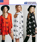 Embroidered Oversized Plus Size Summer Micro Mini Shirt Dress Loose Top US Local