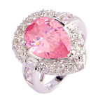 Ring Fashion Romantic Women Ring Large Pink Topaz Silver Cocktail Ring Size 6