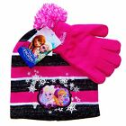 DISNEY FROZEN ANNA ELSA &OLAF Girls Knit Winter Beanie Hat & Gloves Sets NWT $22