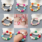 New Hand Made Wooden Crochet Baby Nursing Toy Teething Bead Colorful Bracelet
