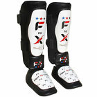F2X Leather Gel Shin Instep Pads Muay Thai Foot Leg Guards Boxing Training Prote