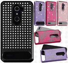 For ZTE ZMAX PRO Hybrid IMPACT Diamond Layered Case Phone Cover +Screen Guard