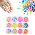 1 Box Fluorescent Nail Art Sequins Multicolor Round Glitter Tips Manicure DIY