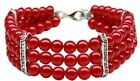 Dog Puppy Bling Pearl Necklace Collar - Red w. Rhinestones - Mirage - 3 Sizes