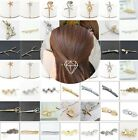 Elegant Women Metal Leaf Crystal Rhinestone Bobby Hair Pin Barrette Clip Hairpin