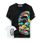 Mens Trendy Bape A Bathing Ape Shark Monkey Head Casual Tshirts T-shirt Tee Tops