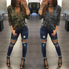 Women Camouflage Lace Up Tops Shirt Ladies Casual Loose T-shirt Blouse Shirt New