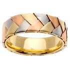 14K Tri Color Yellow White Rose Gold Hand Braided Wedding Band 7mm (WJRL02424)