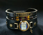 Cross Bracelet with Hebrew Ten Commandments and Faith Inscription