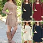 AU 8-24 Women Crewneck Long Sleeve Knitted Sweater Casual Tops Jumper Mini Dress