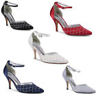 New Ladies Ankle Strap Stiletto Diamante Sandals Wedding Sizes UK 3 4 5 6 7 8
