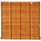 Oriental Furniture Burnt Bamboo Roll Up Blinds Two tone Honey