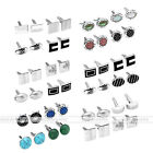 4 Pairs Silver Stainless Steel Enamel Men's Shirt Sleeve Cuff Links Stud Gift