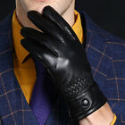 Black / Brown Men's 360° Smart Touch Screen Gloves Genuine Lambskin Leather New