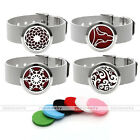 Steel Hollow Aromatherapy Diffuser Locket Bracelet Bangle + Parfum Cotton Slices