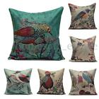 Vintage Country Flowers Birds Print  Linen Cushion Cover Pillow Case Throw