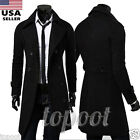 Winter Warm Men's Slim Stylish Trench Coat Double Breasted Overcoat Long Jacket