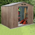 Partner Woodgrain Metal Garden Shed | Apex Roof Large Outdoor Storage Shed NEW