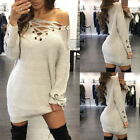 Fashion Womens Casual Lace Up Long Knit Tops Jumper Pullover Sweater Shirt Dress