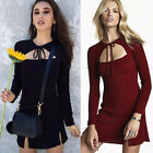 Women Short Mini Dress Long Sleeve Bodycon Casual Party Evening Cocktail Dress