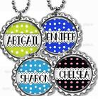 "Personalized Child's Name Bottle Cap Necklace 24"" Chain Kids Bottle Cap Jewelry"