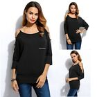 Womens Blouse Batwing Sleeve Short Casual One Shoulder Fashion T-Shirt Tops