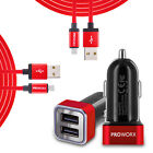 Fast Charging 4.8 Dual 2-Port Car Charger 2X 6FT Long Micro USB Cable for Phones